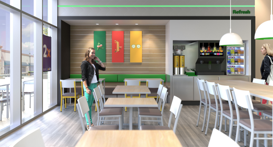Render del nuevo concepto 'Fresh Forward Restaurant' de Subway.